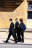 Oxford students in academic clothing. Royalty Free Stock Image