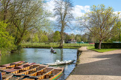 Oxford, UK - 30 April 2016: Tourists punting in river Cherwell Stock Photo
