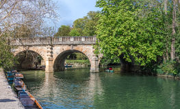 Oxford, UK - 30 April 2016: Tourists punting in river Cherwell Royalty Free Stock Images