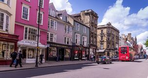 Street view of High Street in Oxford, UK stock image