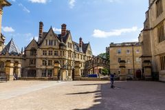 Clarendon Building in Oxford in a beautiful summer day, Oxfordshire, England, United Kingdom. Oxford, UK - June 08, 2015: Clarendon Building in Oxford in a royalty free stock image