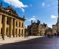 Clarendon Building in Oxford in a beautiful summer day, Oxfordshire, England, United Kingdom. Oxford, UK - June 08, 2015: Clarendon Building in Oxford in a stock images