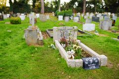 OXFORD, UK - NOVEMBER 13, 2017: The final resting place of J. R. R. Tolkien and his wife Edith Mary Tolkien in old Wolvercote ceme. OXFORD, UK - NOVEMBER 13 stock photo