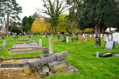 OXFORD, UK - NOVEMBER 13, 2017: Old Wolvercote cemetery in Oxford, England. The final resting place of J. R. R. Tolkien and his wi. OXFORD, UK - NOVEMBER 13 royalty free stock photo