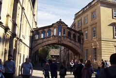 Oxford, United Kingdom. October 13, 2018 - Hertford bridge best known as the Bridge of Sighs. Oxford, United Kingdom. October 13, 2018 - Hertford bridge best stock image