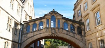 Oxford, United Kingdom. October 13, 2018 - Hertford bridge best known as the Bridge of Sighs. Oxford, United Kingdom. October 13, 2018 - Hertford bridge best stock photos