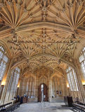 Oxford University, Bodleian Library. The ornate vaulted ceiling of the Divinity Scvhool is one of the highlights of the Bodleian Library royalty free stock photos