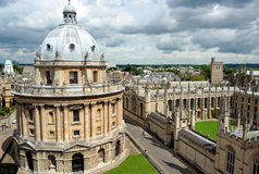 Oxford University, library and college. View of the Radcliffe Camera, a library building, and All Souls College stock photos