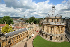 Oxford University, library and college. Wide angle view of the Radcliffe Camera, a library building, and Brasenose College stock photo