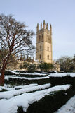 Oxford University in snow. Oxford University buildings in snow, Oxford, England Royalty Free Stock Photography