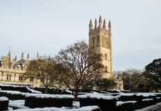 Oxford University in winter Stock Image