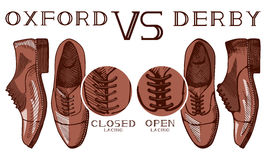 Oxford VS derby. Vector illustration of an infographics, illustrating the difference between oxford and derby men's suit shoes: open and closed lacing. Vintage Royalty Free Stock Image