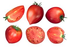 Oxheart ox heart tomatoes, top view stock photos