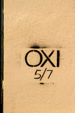 An OXI (Greek for NO) Graffiti on a wall Stock Image