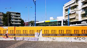 OXI (No) signs for the referendum against the euro crisis bailout Royalty Free Stock Image