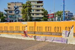 OXI (No) signs for the referendum against the euro crisis bailout Royalty Free Stock Photography