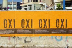 OXI (No) signs for the referendum against the euro crisis bailout Royalty Free Stock Images