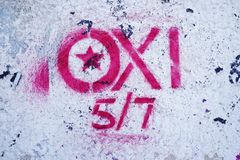 OXI (No) signs for the referendum against the euro crisis bailout Stock Photos