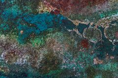 Oxidação colorida do Grunge na superfície de metal - textura/fundo de alta qualidade imagens de stock