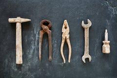 Oxidado como la colección de las herramientas hecha del chocolate Imagen de archivo libre de regalías
