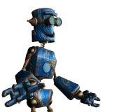Oxidado el robot azul en un fondo blanco ilustración del vector