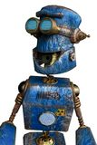 Oxidado el robot azul en un fondo blanco stock de ilustración