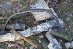Oxidado viu e machado Foto de Stock