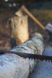 Oxidado viu e machado Fotos de Stock Royalty Free