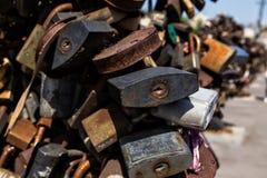 Oxidados velhos grandes abrem o cadeado Imagem de Stock