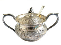 Oxidized silver sugar bowl Stock Image