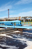 Oxigen aeration of wastewater in sewage treatment plant Stock Photos