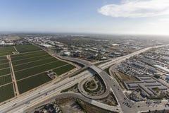 Oxnard California Ventura Freeway Aerial. Aerial view of the Ventura 101 Freeway at Rice Ave in Oxnard, California stock image