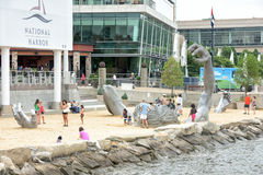 OXON HILL, MD - JUNE 19, 2015: Awakening Sculpture at National Harbor on August 24, 2013 at Oxon Hill, MD USA. A famous 70-foot st Stock Images