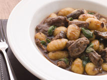 Oxtail Braised in Red Wine with Basil Gnocchi Royalty Free Stock Photography