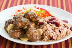 Oxtail Curry with Rice. Caribbean style curried Oxtail served with rice mixed with red kidney beans. Dish accompanied with vegetable salad. Shallow DOF Royalty Free Stock Images