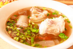 Oxtail soup. Closeup oxtail soup in pink bowl Royalty Free Stock Images