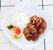 Oxtail Stew with Rice and Vegs Royalty Free Stock Photography