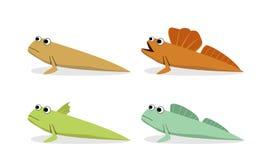 Oxudercinae ; Mudskipper in vector art, side view Royalty Free Stock Images