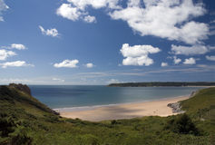 Oxwich bay - Gower peninsula. Wales. The Gower Peninsula is a peninsula on the south coast of Wales. It was the first area in the United Kingdom to be designated royalty free stock photos