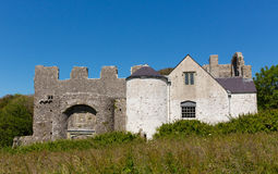 Oxwich Castle The Gower Peninsula South Wales UK. With beautiful clear blue sky in summer Royalty Free Stock Photo