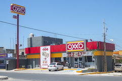 Oxxo convenience store. LAS CHOAPAS, MEXICO - JULY 19, 2014: The OXXO franchise of convenience stores is the largest of its kind in Mexico and has over 11,000 stock photos