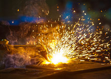Oxy-Cutting in a steel fabrication workshop stock photography