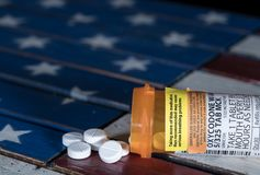 Macro of oxycodone opioid tablets Royalty Free Stock Images