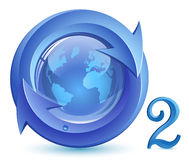 Oxygen. O2. Eco Concept. Globe, arrows with drop of water stock illustration