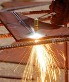 Oxygen and acetylene torch cutting steel Royalty Free Stock Images