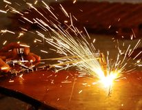 Oxygen and acetylene torch cutting steel Stock Photos