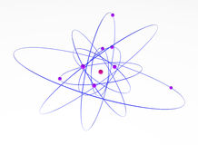 Oxygen Atom. Isolated 3d atom model, over white, horizontal Royalty Free Stock Photos
