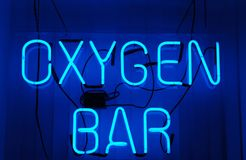 Oxygen Bar. Neon sign royalty free stock photos