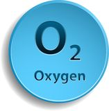 Oxygen. Blue button with oxygen. eps10 vector illustration