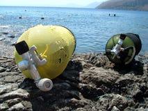 Oxygen bottle on rocks. Oxygen bottles near the sea in Sicily (Trapani royalty free stock image